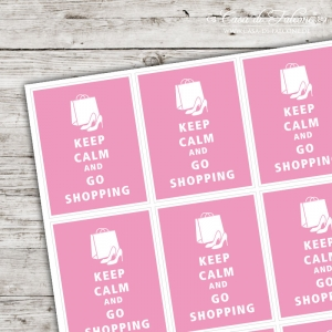 Motivaufkleber - keep calm and go shopping