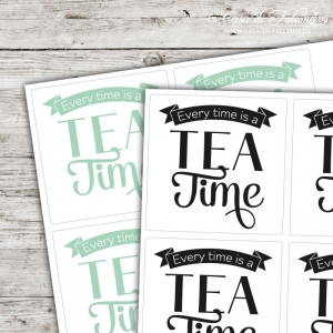 Motivaufkleber Typo - Every time is a tea time