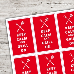 Motivaufkleber - keep calm and grill on