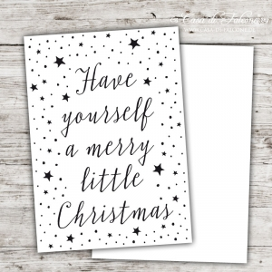 Postkarte Kalligrafie Have yourself a merry little christmas