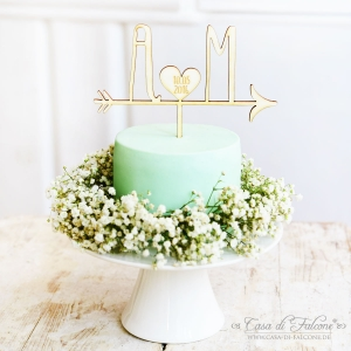 Personalisierter Hochzeit Cake Topper Aus Holz Pfeil Casa Di Falcone