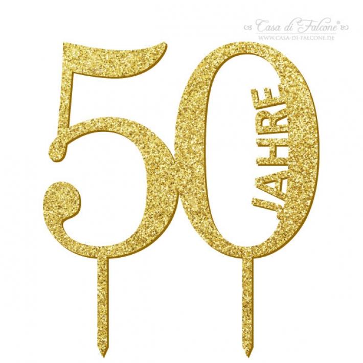 Cake Topper Goldene Hochzeit 50 Jahre I Tortenstecker Gold