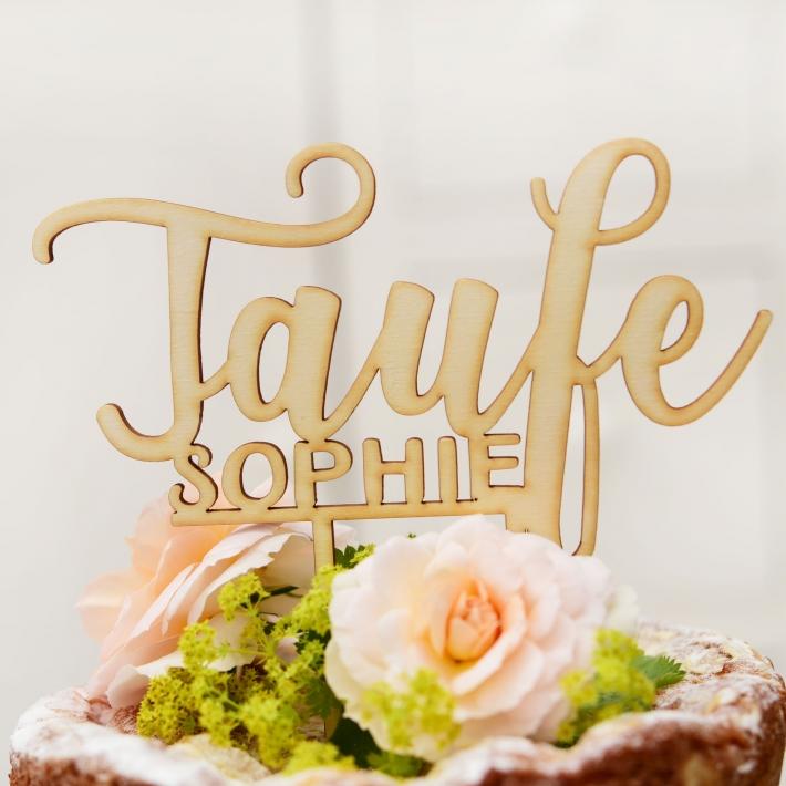 Personalisierter Cake Topper Zur Taufe Kalligrafie Casa