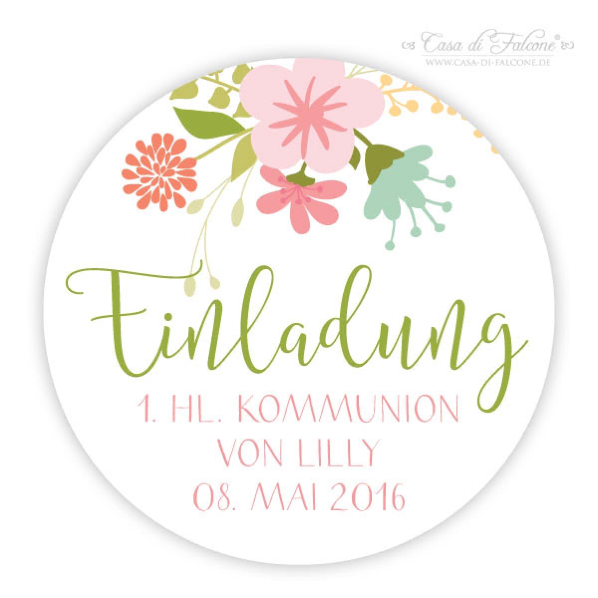 Aufkleber Einladung Zur Kommunion, Rund Floral