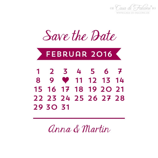 stempel hochzeit save the date kalender casa di falcone. Black Bedroom Furniture Sets. Home Design Ideas