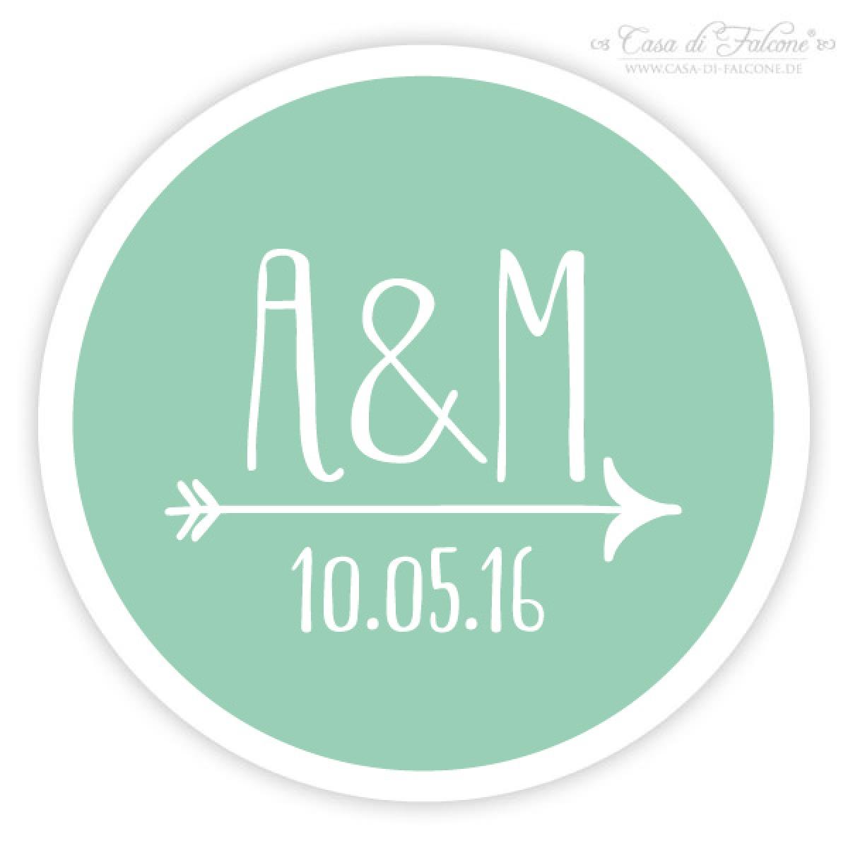 Personalisierte Aufkleber Hochzeit Mit Initialen Datum