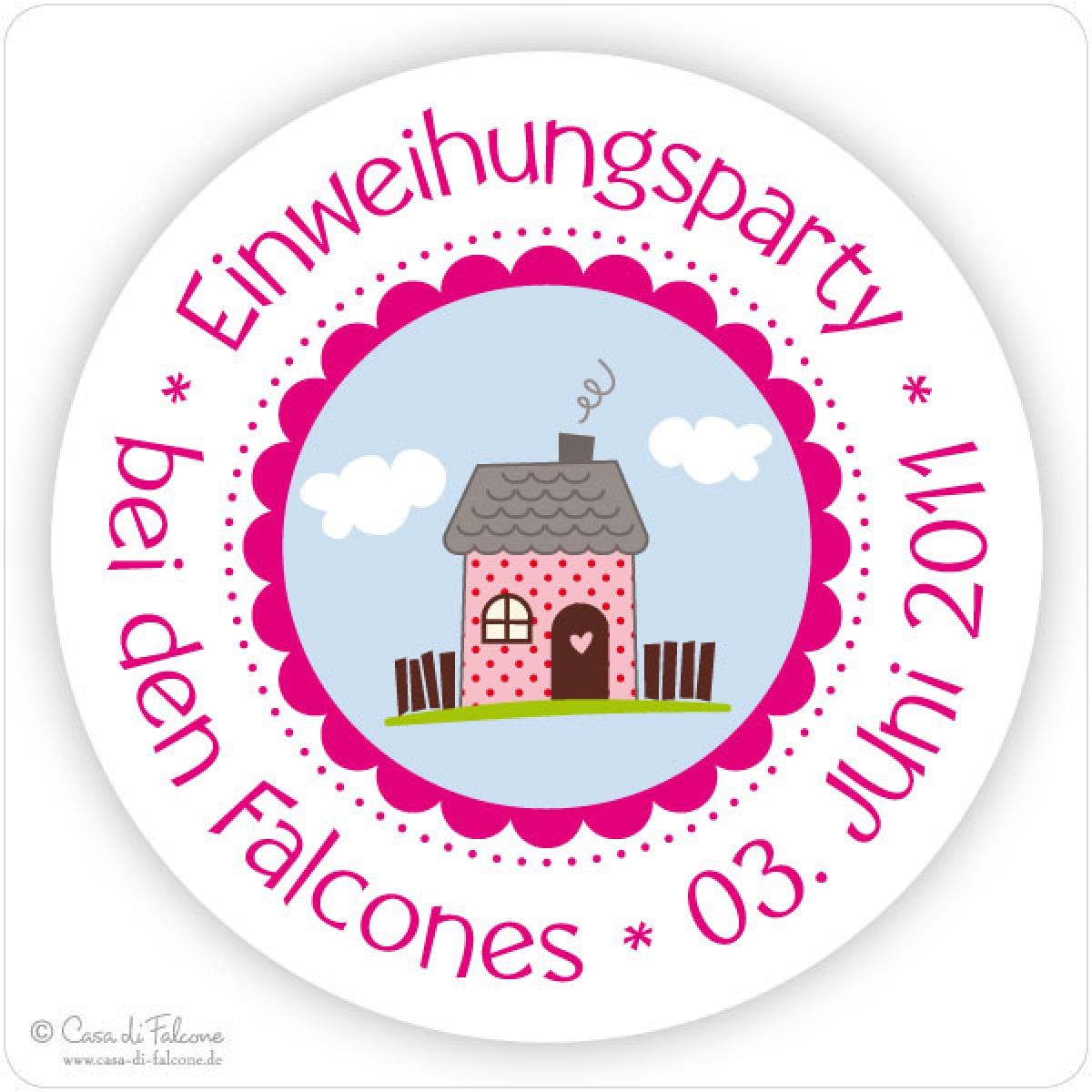 Aufkleber einweihungsparty casa di falcone - Einweihungsparty auf englisch ...