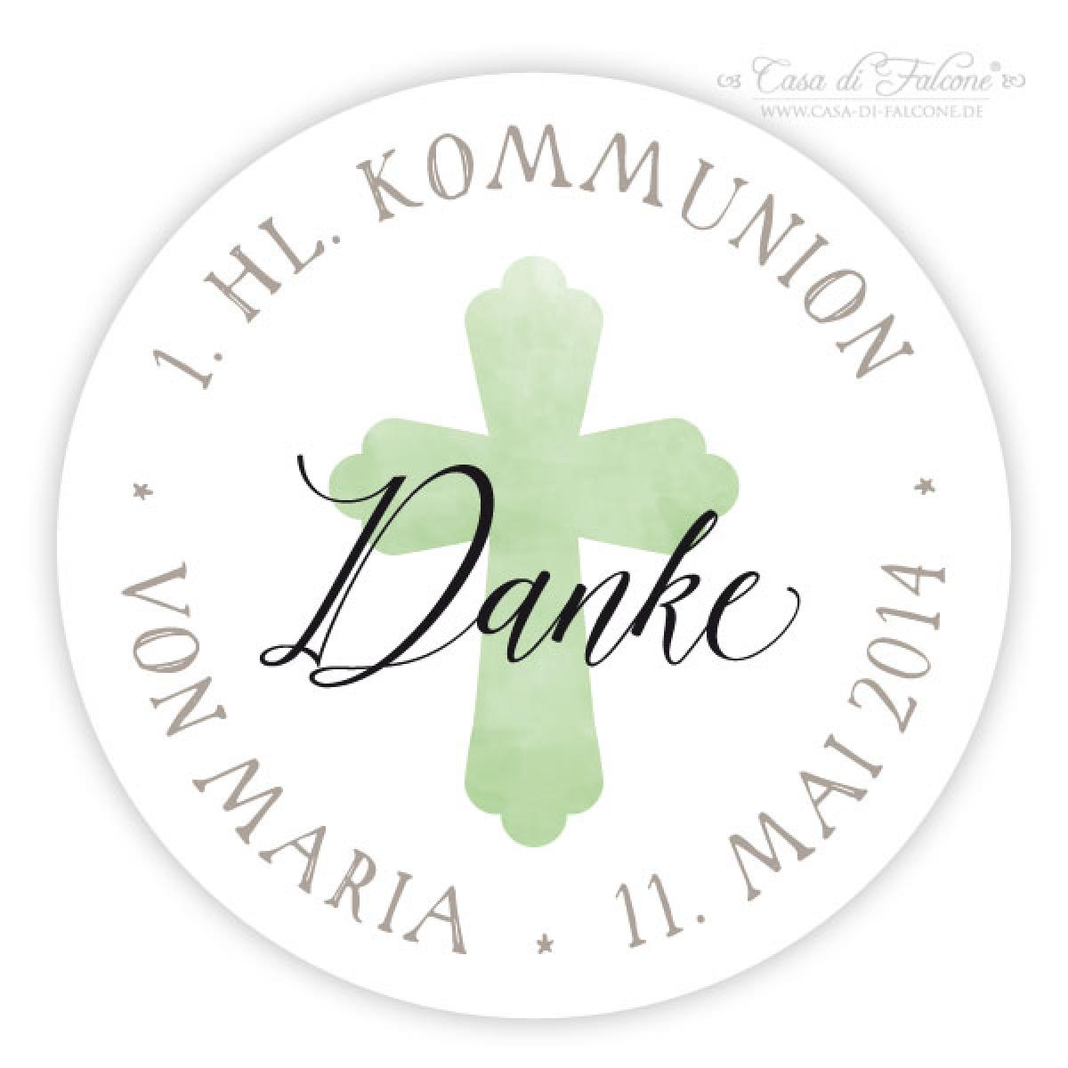 Personalisierte Aufkleber Zur Kommunion Kreuz Rund Casa