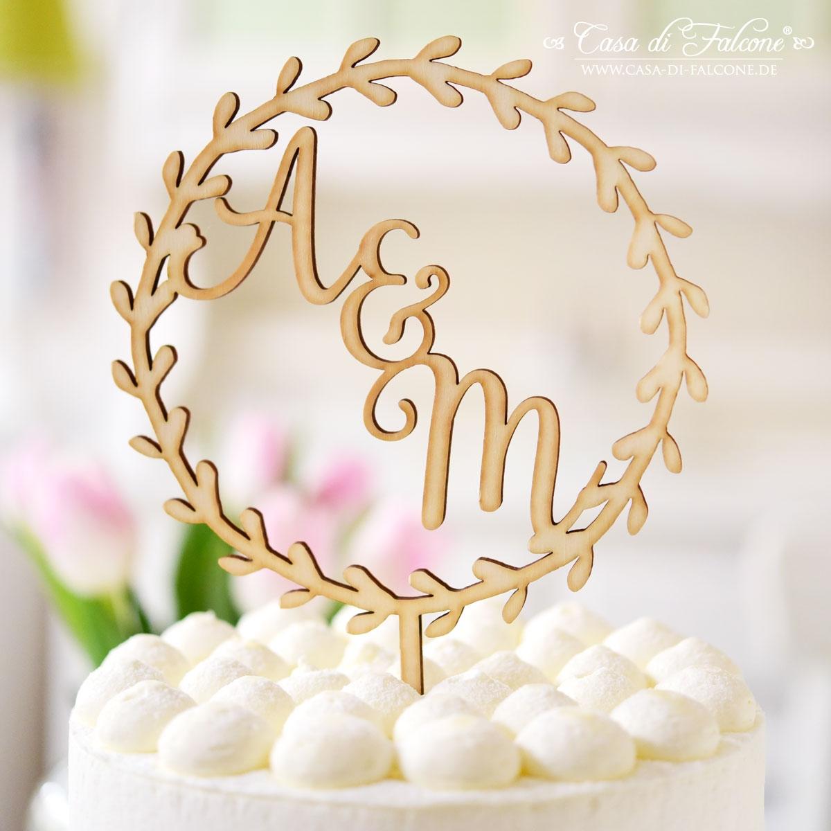 Produktion aus Deutschland Cake Topper Hochzeit personalisiert Kranz mit Namen