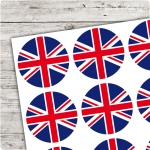 Motivaufkleber very british - Union Jack rund