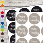 Textaufkleber - swash - happy birthday